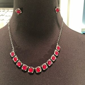 Ruby Rhinestone Necklace and Earring set